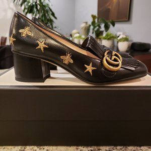 NEW Gucci Marmont Star and Bee Leather Loafer